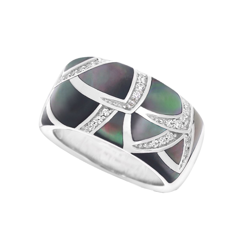 Sirena Mother of Pearl Black Ring