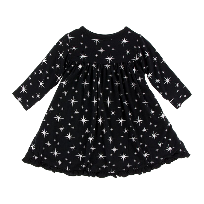 Long Sleeve Silver Stars Swing Dress