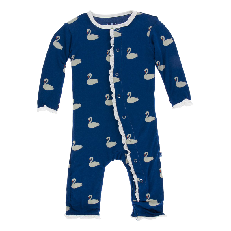 Print Muffin Ruffle Coverall with Snaps