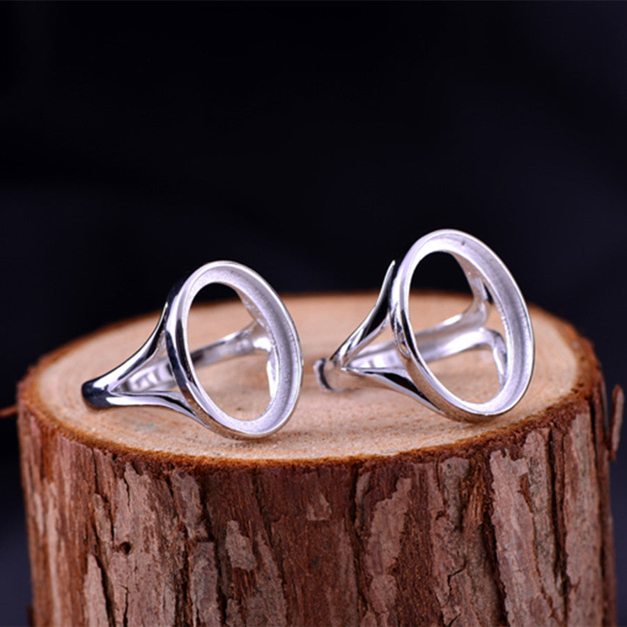 13x18mm/15x20mm Oval Ring Blank Adjustable 925 Sterling Silver (R014B)