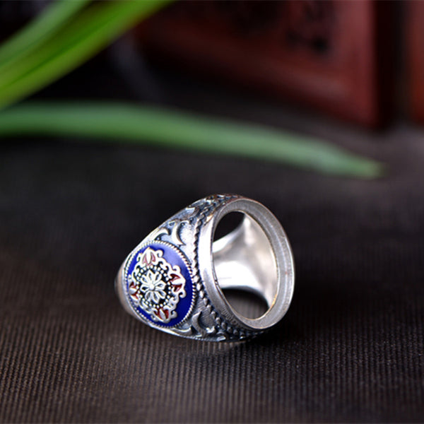 13x18mm Oval Ring Blank Adjustable Thai Sterling Silver Ring Base (R025B)