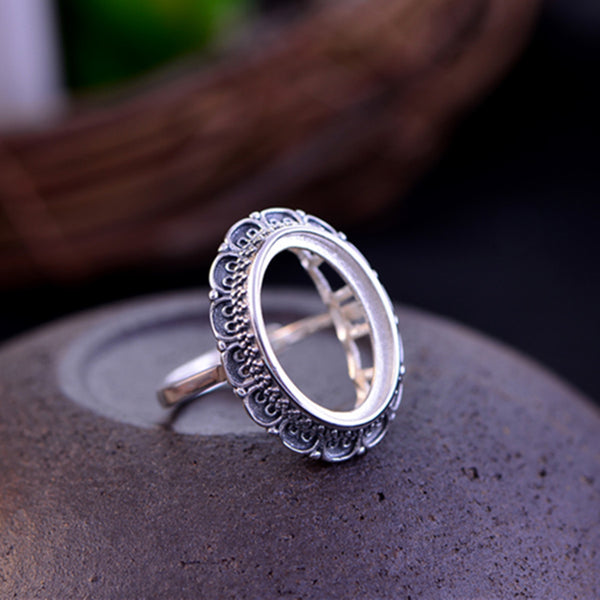 13x18mm Oval Ring Blank Adjustable Thai Sterling Silver Ring Base (R084B)