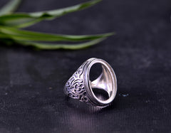15x20mm Oval Ring Blank Adjustable Thai Sterling Silver Ring Base (R087B)