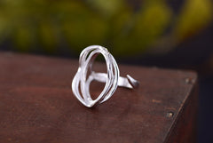 14.5x22mm Oval Ring Blank Adjustable 925 Sterling Silver Ring Base (R132B)