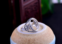 13x18mm Oval Ring Blank Adjustable Thai Sterling Silver Ring Base (R298B)