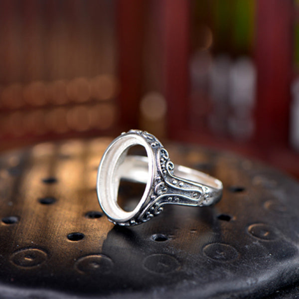 12x16mm Oval Ring Blank Adjustable Thai Sterling Silver Ring Base (R310B)