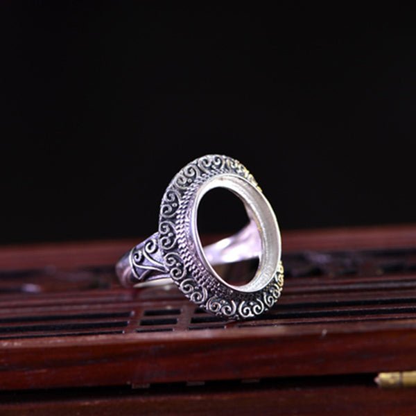12x16mm Oval Ring Blank Adjustable Thai Sterling Silver Ring Base (R323B)