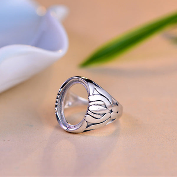 12x16mm Oval Ring Blank Adjustable Thai Sterling Silver Ring Base (R382B)