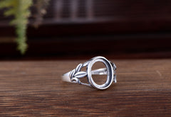 9x11mm Oval Ring Blank Adjustable Thai Sterling Silver Ring Base (R469B)