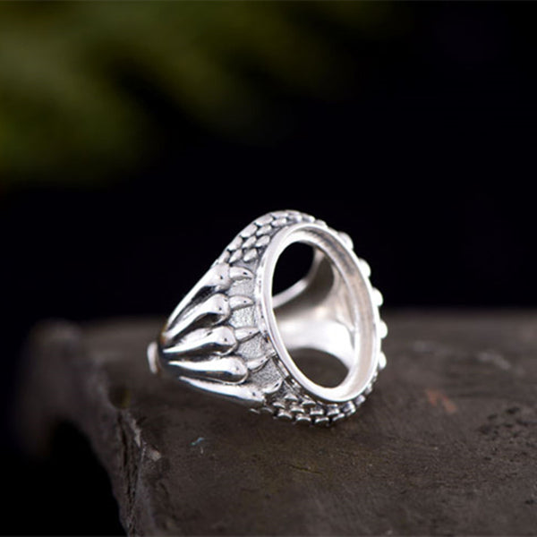 13x18mm Oval Ring Blank Adjustable Thai Sterling Silver Ring Base (R489B)