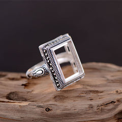 10x14mm Rectangle Ring Blank Adjustable Thai Sterling Silver (R510B)