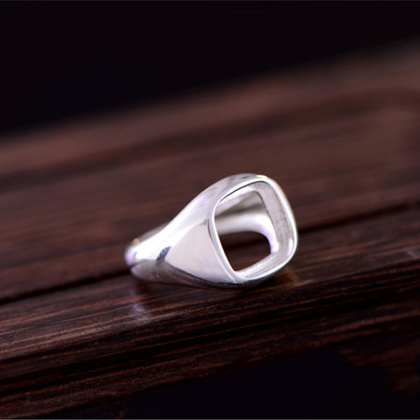 10.3x10.3mm Square Ring Blank Adjustable Sterling Silver Ring Base (R512B)