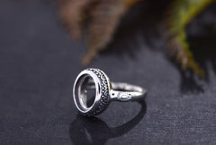 9x11.8mm Oval Ring Blank Adjustable Thai Sterling Silver Ring Base (R562B)