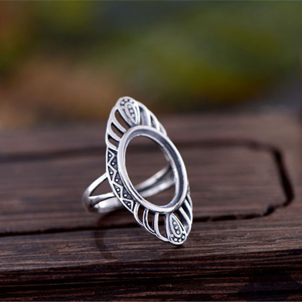 12x16mm Oval Ring Blank Adjustable Thai Sterling Silver Ring Base (R566B)