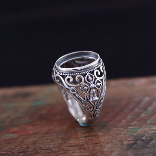 12x16mm Oval Ring Blank Adjustable Thai Sterling Silver Ring Base (R599B)