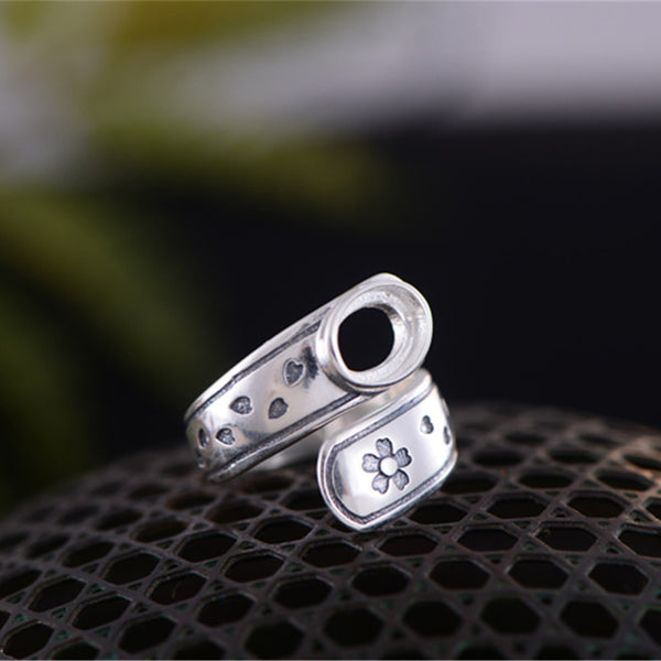 6x8mm Oval Ring Blank Adjustable Thai Sterling Silver Ring Base (R629B)