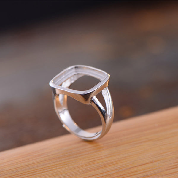 14x14mm Square Ring Blank Adjustable Sterling Silver Ring Base (R640B)