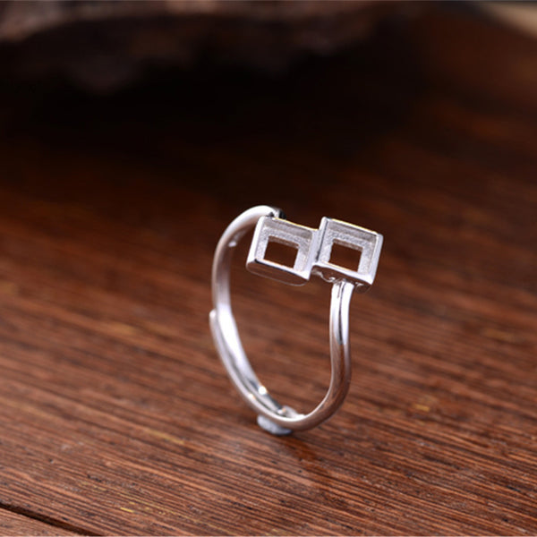 4.2x4.2mm Square Ring Blank Adjustable Sterling Silver 2 Blanks (R704B)