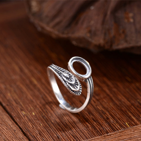 6x8mm Oval Ring Blank Adjustable Thai Sterling Silver Ring Base (R723B)