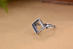 10.2x10.2mm Square Ring Blank Adjustable Thai Sterling Silver Ring (R751B)