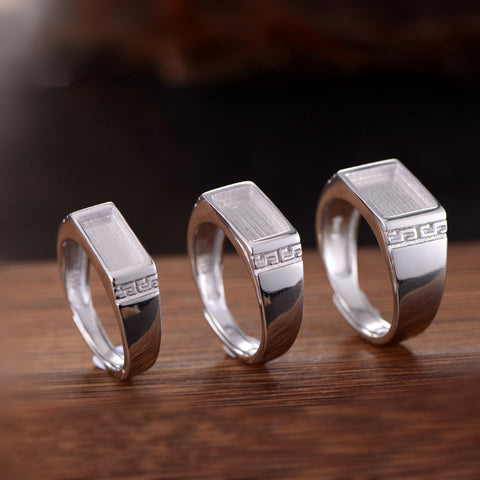 5x10mm/6X10mm/8x10mm Rectangle Ring Blank 925 Silver (R786B)