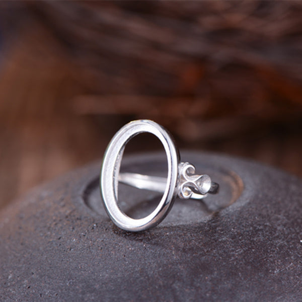 13x18mm Oval Ring Blank Adjustable 925 Sterling Silver Ring Base (R800B)