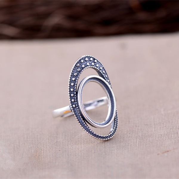 10x14mm Oval Ring Blank Adjustable Thai Sterling Silver Ring Base (R804B)