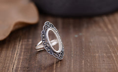 8.5x18mm Oval Ring Blank Adjustable Thai Sterling Silver Ring Base (R812B)