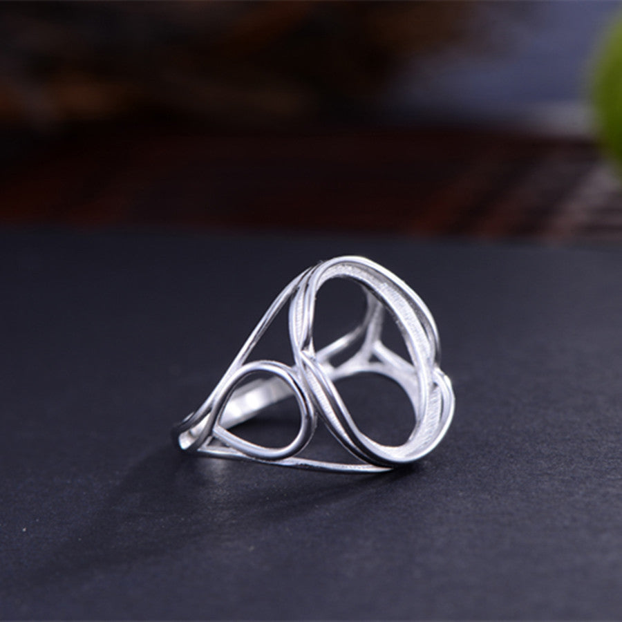 12x17mm Oval Ring Blank Adjustable 925 Sterling Silver Ring Base (R823B)