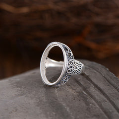 12.2x19.5mm Oval Ring Blank Adjustable Thai 925 Silver Ring Base (R838B)