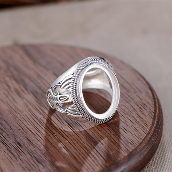 12x16mm Oval Ring Blank Adjustable Thai Sterling Silver Ring Base (R840B)