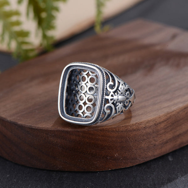 14x18mm Rectangle Ring Blank Adjustable Thai Sterling Silver (R928B)