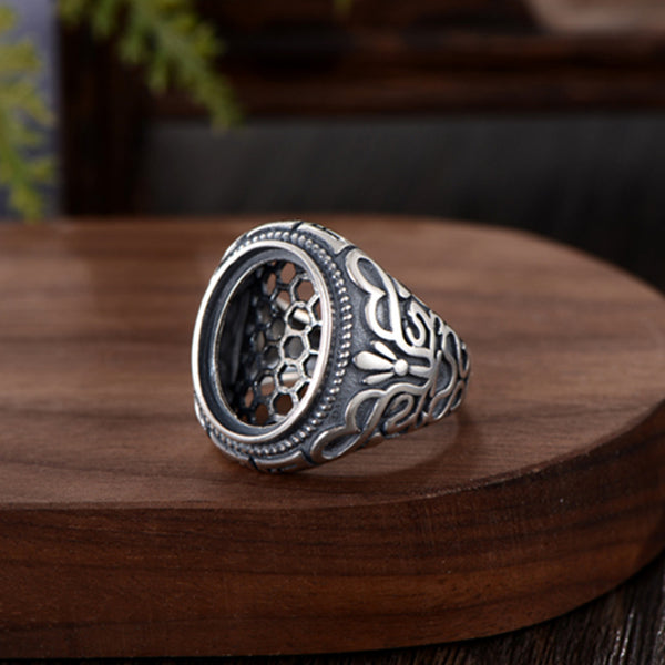 13x17mm Oval Ring Blank Adjustable Thai Sterling Silver Ring Base (R931B)