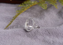 13x18mm Oval Ring Blank Adjustable 925 Sterling Silver Ring Base (R953B)