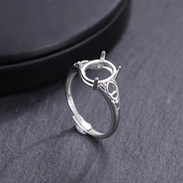 8x10mm Oval Ring Blank Adjustable 925 Sterling Silver Ring Base (R956B)