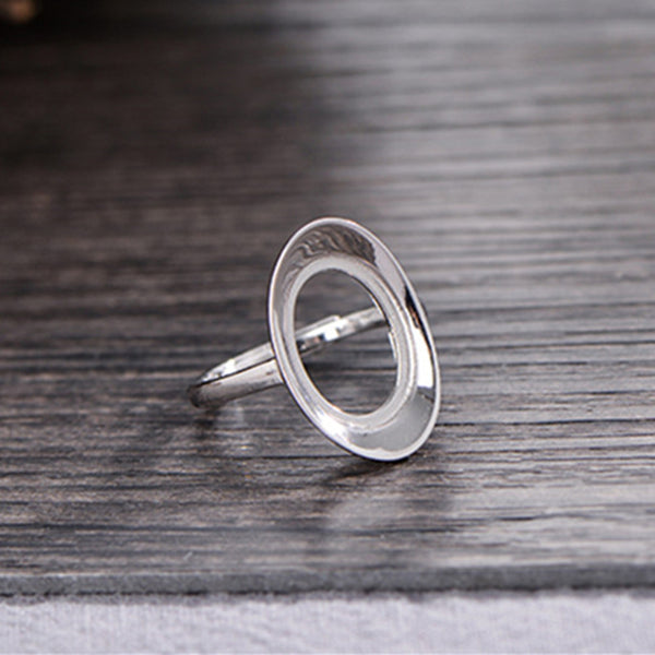 10x14mm Oval Ring Blank Adjustable 925 Sterling Silver Ring Base (R988B)