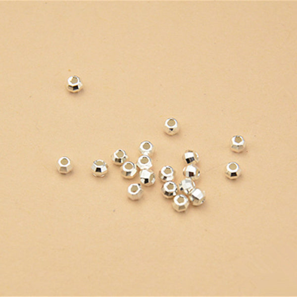 30pcs 925 Sterling Silver Faceted Round Beads Spacer Beads 2.5mm (S003S)