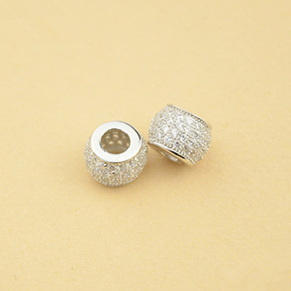 2pcs 925 Silver Flat Round Beads Barrel Shape Spacer Beads 7.5mm (S035S)