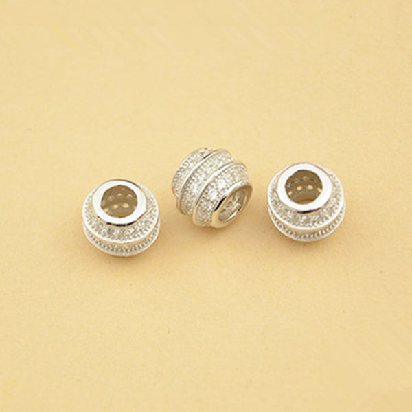 2pcs 925 Silver Round Beads Barrel Spacer Beads 7.5mm or 8.5mm (S041S)