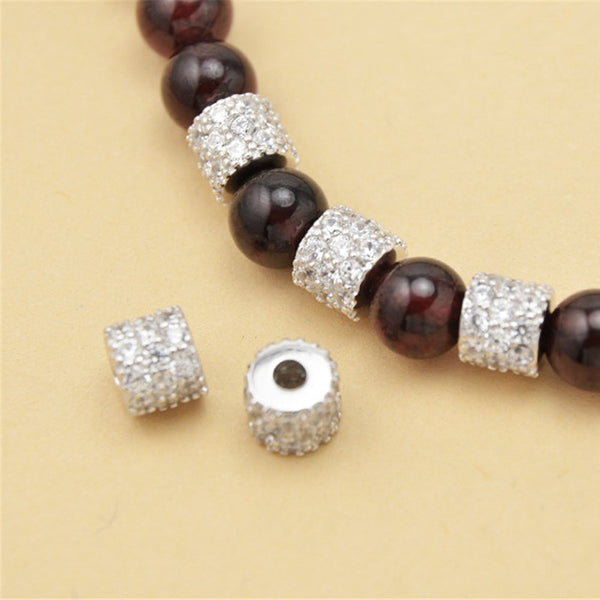 2pcs 925 Sterling Silver Column Shape Beads Spacer Beads 6mm (S047S)