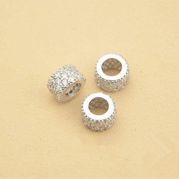 2pcs 925 Sterling Silver Flat Round Beads Spacer Beads 8mm (S048S)