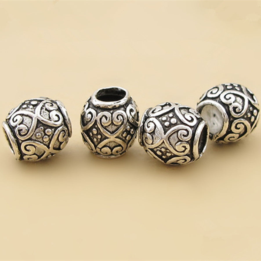 antique vintage thai carved beads guru p hole sterling with buddhist silver round jewelry ster dragon findings wholesale