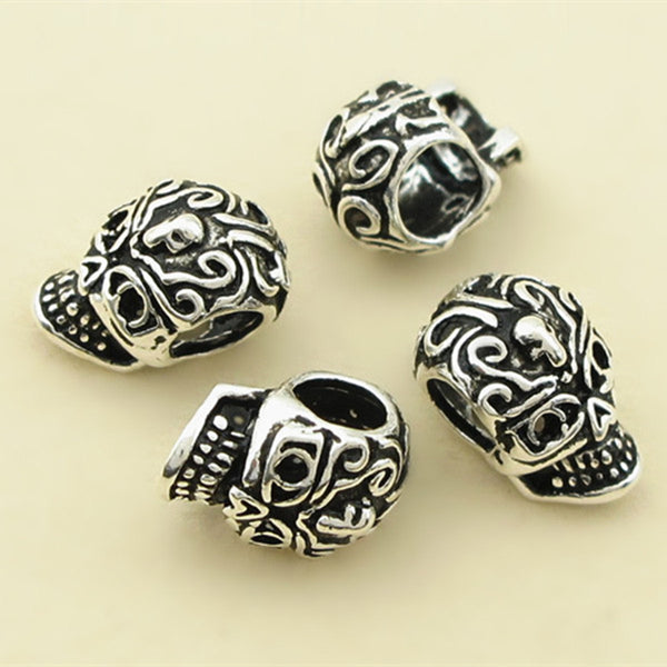 4pcs Thai Sterling Silver Beads Skull Spacer Beads 7.4mm*11mm (S056T)