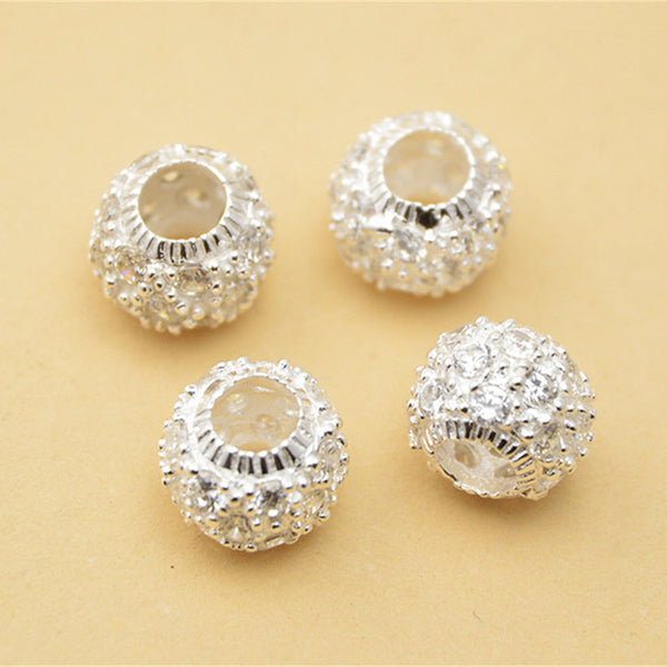 2pcs 925 Sterling Silver Rondelle Beads Spacer Beads 9mm (S059S)