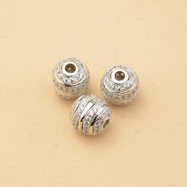 2pcs 925 Sterling Silver Round Beads Spacer Beads 8.5mm (S062S)