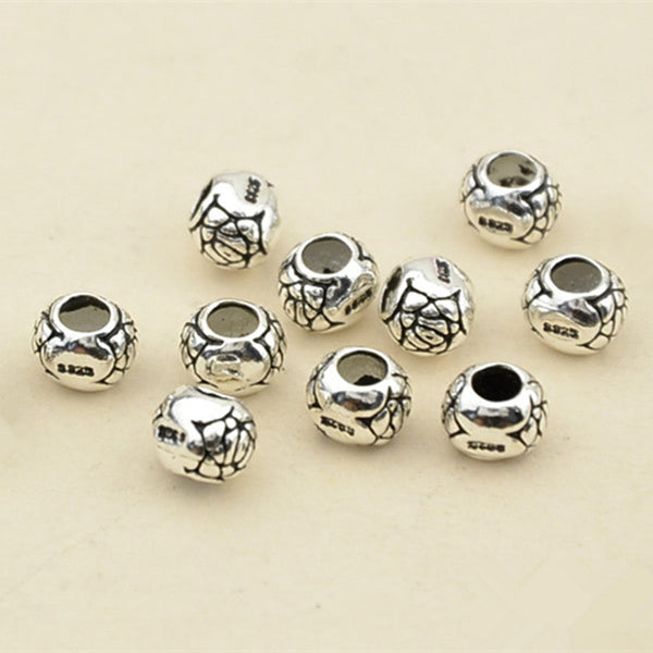 10pcs Thai Sterling Silver Beads Round Carved Spacer Beads 6mm (S064T)