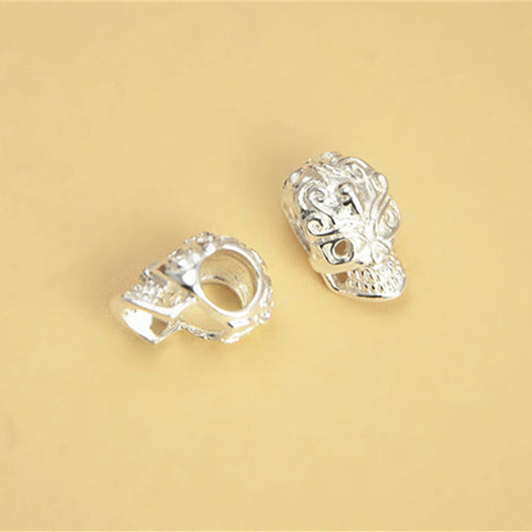 5pcs 925 Sterling Silver Skull Shape Beads Spacer Beads 11mm (S123S)