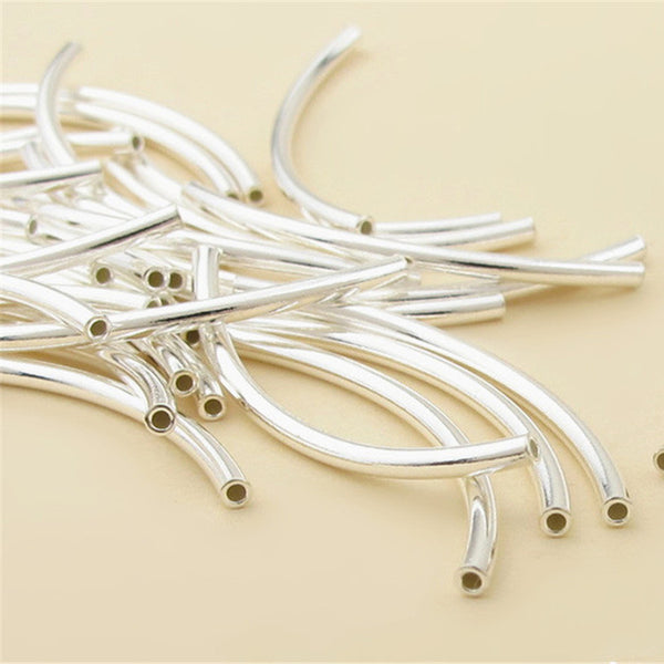 10pcs 925 Silver Polished Curved Tube Beads Multiple Sizes (T001S)