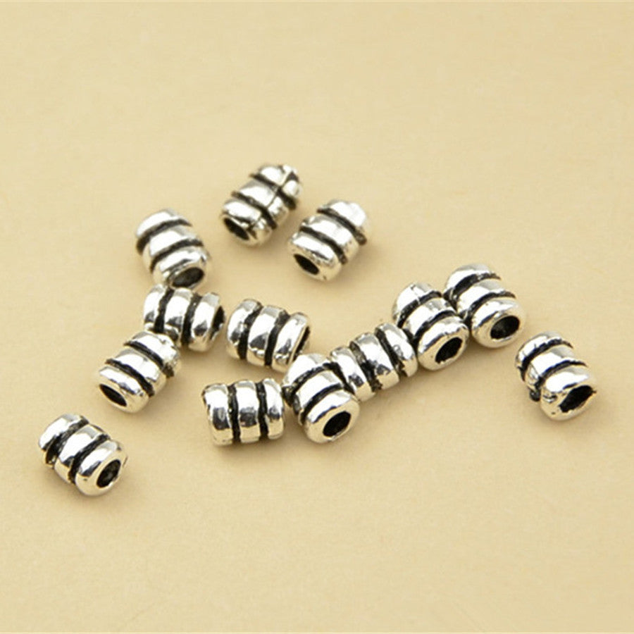 20pcs Small Thai Sterling Silver Tube Beads Short Tubes 3.2mm*4.2mm (T008T)