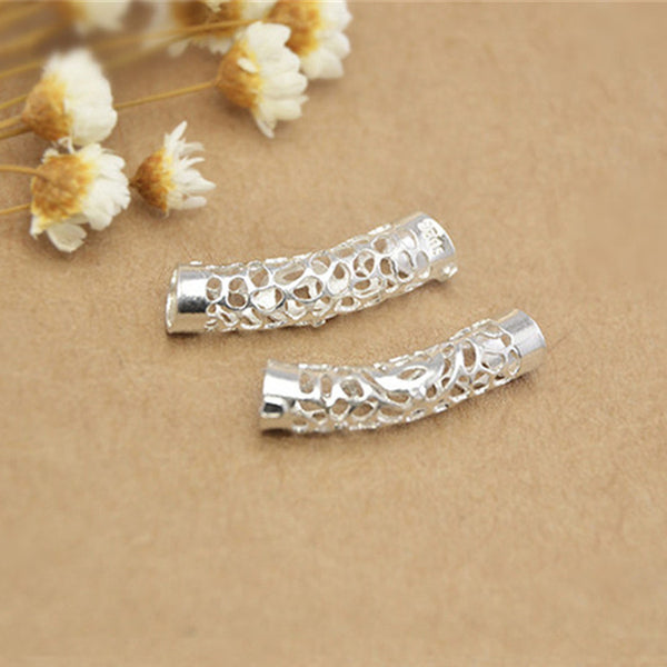 5pcs 925 Sterling Silver Openwork Curved Tube Beads 5mm*23mm (T011S)